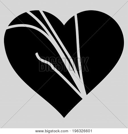 Damaged Love Heart flat icon. Vector black symbol. Pictograph is isolated on a light gray background. Trendy flat style illustration for web site design, logo, ads, apps, user interface.