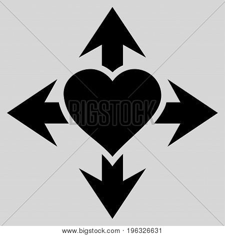 Expand Love Heart flat icon. Vector black symbol. Pictogram is isolated on a light gray background. Trendy flat style illustration for web site design, logo, ads, apps, user interface.
