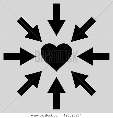 Impact Love Heart flat icon. Vector black symbol. Pictograph is isolated on a light gray background. Trendy flat style illustration for web site design, logo, ads, apps, user interface.