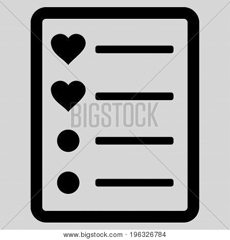 Love List Page flat icon. Vector black symbol. Pictogram is isolated on a light gray background. Trendy flat style illustration for web site design, logo, ads, apps, user interface.