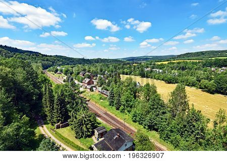 View over the valley of river Floha near Hetzdorf in Saxony, Germany