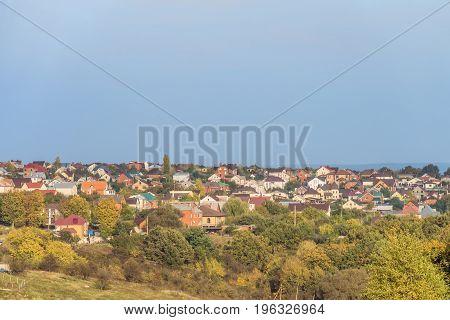 Autumn suburban landscape. Dubovskoye rural settlement, Belgorod Region, Russia.