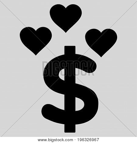 Lovely Dollar flat icon. Vector black symbol. Pictogram is isolated on a light gray background. Trendy flat style illustration for web site design, logo, ads, apps, user interface.