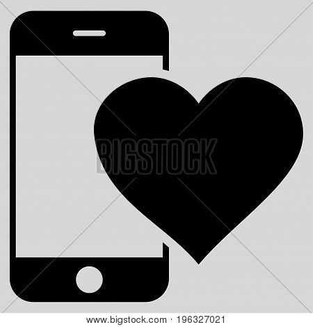 Lovely Smartphone flat icon. Vector black symbol. Pictogram is isolated on a light gray background. Trendy flat style illustration for web site design, logo, ads, apps, user interface.