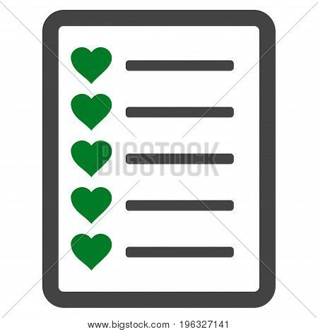 Favourites List Page flat icon. Vector bicolor green and gray symbol. Pictogram is isolated on a white background. Trendy flat style illustration for web site design, logo, ads, apps, user interface.