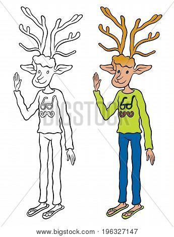Deer hipster in jeans and sweater waving affably