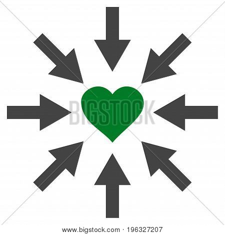 Impact Love Heart flat icon. Vector bicolor green and gray symbol. Pictogram is isolated on a white background. Trendy flat style illustration for web site design, logo, ads, apps, user interface.