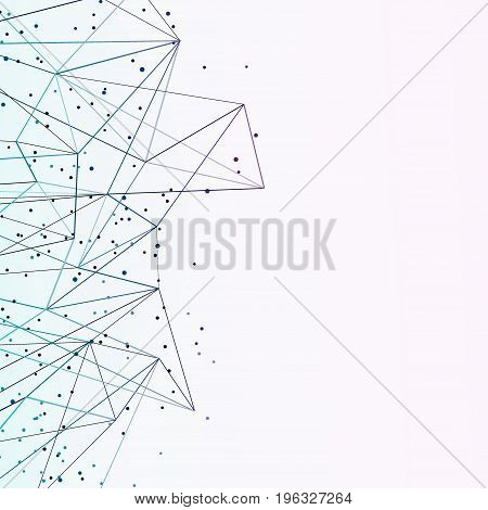 Abstract particle noise modern geometrical business layout. Futuristic connection technology wireframe background. Vector illustration