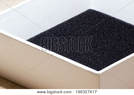 Cardboard Box With Cover With Black Foam Top View