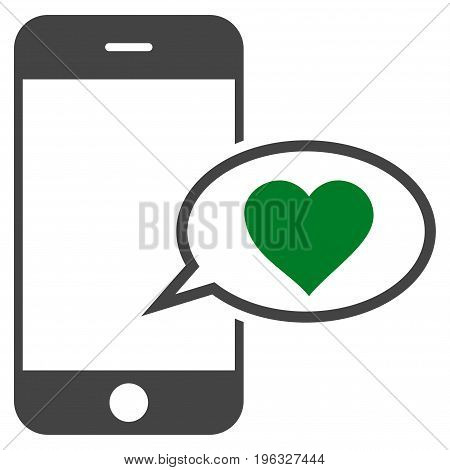 Smartphone Love Message flat icon. Vector bicolor green and gray symbol. Pictogram is isolated on a white background. Trendy flat style illustration for web site design, logo, ads, apps,