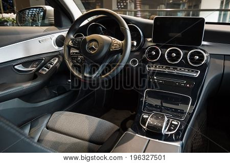 BERLIN - JANUARY 24 2015: Showroom. Cabin of a compact executive car Mercedes-Benz C220 BT Limousine. Produced since 2014.