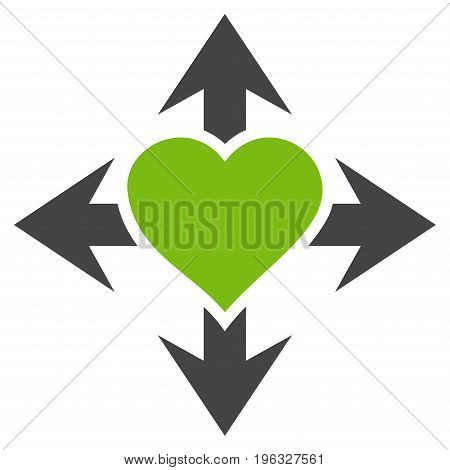 Expand Love Heart flat icon. Vector bicolor light green and gray symbol. Pictogram is isolated on a white background. Trendy flat style illustration for web site design, logo, ads, apps,