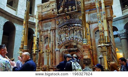 Jerusalem, Israel - May 25, 2017: Jesus Christ empty tomb in Jerusalem in the Holy Sepulcher Church. The Holy Sepulchre Church and Empty Tomb the most sacred places for all Christians in the world.