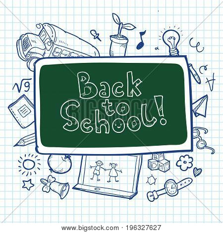 Doodle freehand drawing on paper background with back to school lettering