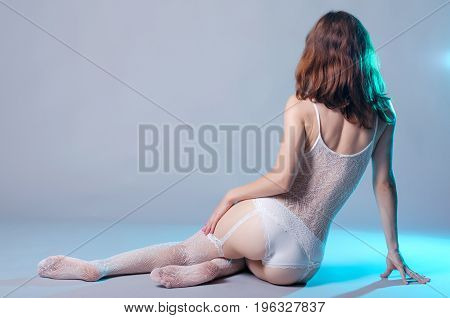 Sexy Woman In Erotic Lingerie On Gray Background, View From Back.