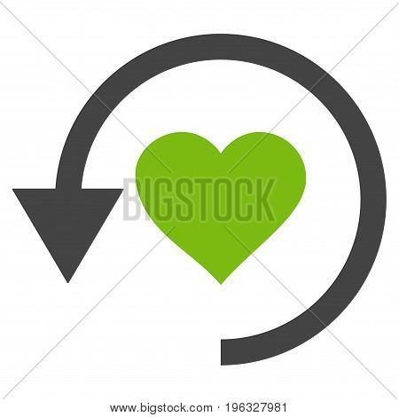 Refresh Love flat icon. Vector bicolor light green and gray symbol. Pictogram is isolated on a white background. Trendy flat style illustration for web site design, logo, ads, apps, user interface.