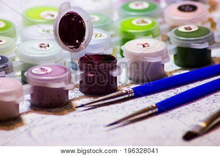 Art Album, Watercolor, Paint Brushes And Pencils