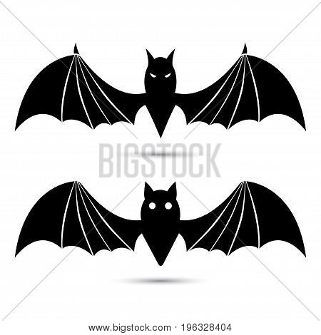 Vector silhouettes of bats isolated on white background.