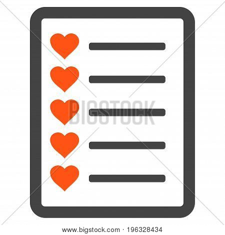 Favourites List Page flat icon. Vector bicolor orange and gray symbol. Pictogram is isolated on a white background. Trendy flat style illustration for web site design, logo, ads, apps, user interface.