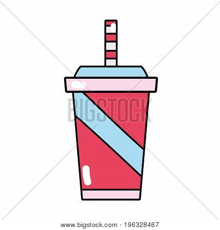 delicious refreshment in the plastic cup to drink vector illustration