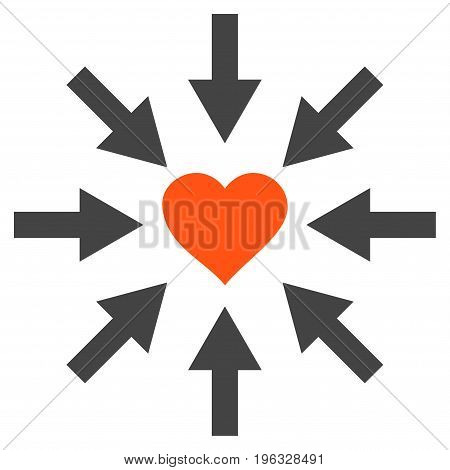 Impact Love Heart flat icon. Vector bicolor orange and gray symbol. Pictogram is isolated on a white background. Trendy flat style illustration for web site design, logo, ads, apps, user interface.