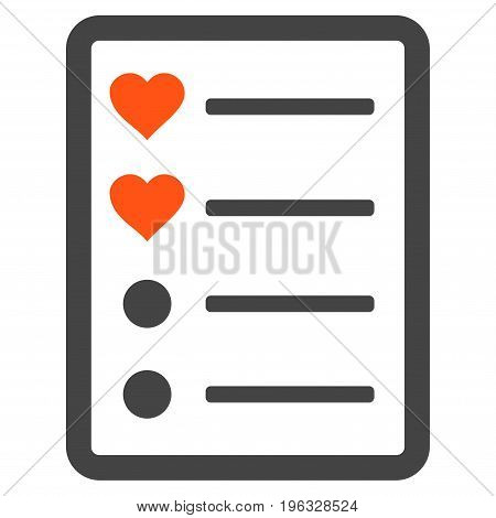 Love List Page flat icon. Vector bicolor orange and gray symbol. Pictograph is isolated on a white background. Trendy flat style illustration for web site design, logo, ads, apps, user interface.