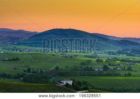 Brouilly Hill And Vineyards At Sunrise