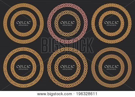 Celtic knot braided frame border circle ornaments set. Vector illustration
