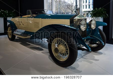 BERLIN - MARCH 08 2015: Showroom. Rolls-Royce Phantom I Experimental Sports Tourer by Barker & Co. 1926. Rolls-Royce Motor Cars Limited global manufacturer of luxury cars.
