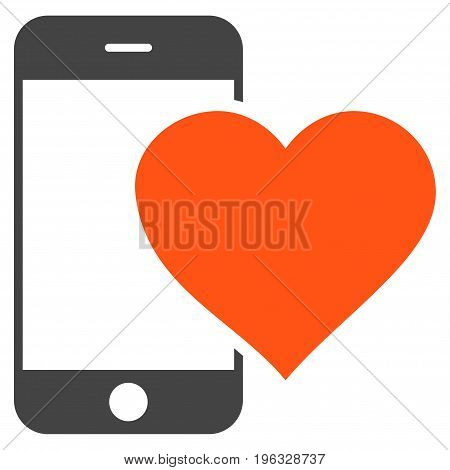 Lovely Smartphone flat icon. Vector bicolor orange and gray symbol. Pictogram is isolated on a white background. Trendy flat style illustration for web site design, logo, ads, apps, user interface.