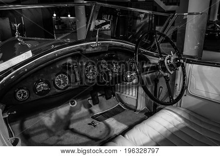 BERLIN - MARCH 08 2015: Showroom. Cabin of a Rolls-Royce Phantom I Experimental Sports Tourer by Barker & Co. 1926. Black and white. Rolls-Royce Motor Cars Limited global manufacturer of luxury cars.