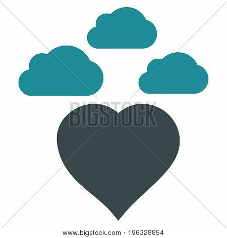 Cloudy Love Heart flat icon. Vector bicolor soft blue symbol. Pictogram is isolated on a white background. Trendy flat style illustration for web site design, logo, ads, apps, user interface.