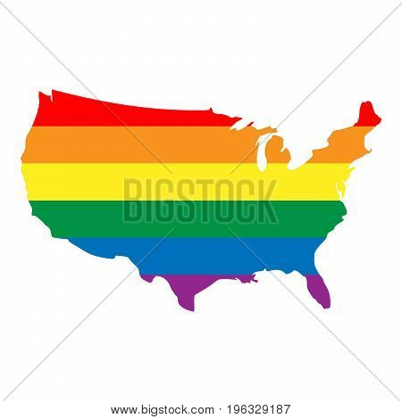 LGBT rainbow pride flag in a shape of USA map. Lesbian, gay, bisexual, and transgender stylish design element. Simple flat vector illustration.