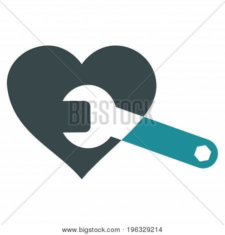 Heart Surgery Wrench flat icon. Vector bicolor soft blue symbol. Pictograph is isolated on a white background. Trendy flat style illustration for web site design, logo, ads, apps, user interface.