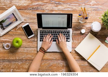 business, accounting, people and technology concept - hands of woman with receipt on laptop computer working at office