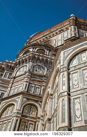Close-up of the sculptural work on the dome of the Santa Maria del Fiore Cathedral. In the city of Florence, the famous and amazing capital of the Italian Renaissance. Located in the Tuscany region