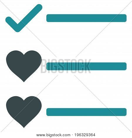Love List flat icon. Vector bicolor soft blue symbol. Pictograph is isolated on a white background. Trendy flat style illustration for web site design, logo, ads, apps, user interface.