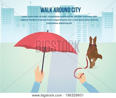 Young man walks in the park with his dog. Evening view of the city. Alleys for walks. Playgrounds and recreation parks. Vector illustration isolated.