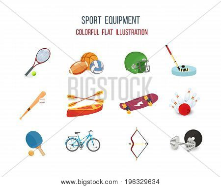 Concept of sport equipment types of games. Tennis football basketball rugby hockey baseball canoeing skateboard bowling bicycle racing archery weightlifting. Vector illustration.