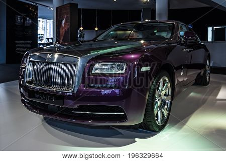 BERLIN - MARCH 08 2015: Showroom. Full-size car Rolls-Royce Wraith (2013). Rolls-Royce Motor Cars Limited global manufacturer of luxury cars.