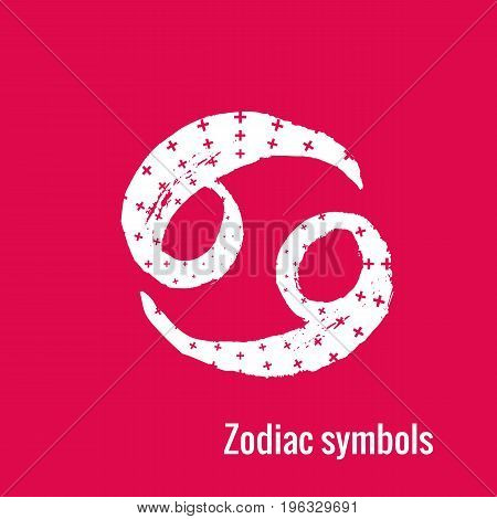 Signs of the zodiac. Cancer symbol calligraphy. Fashion illustration style. Vector illustration white isolated on a pink background. Concept for women's T-shirts, fashion magazines and blogs.