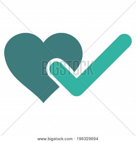 Checked Love Heart flat icon. Vector bicolor cobalt and cyan symbol. Pictogram is isolated on a white background. Trendy flat style illustration for web site design, logo, ads, apps, user interface.