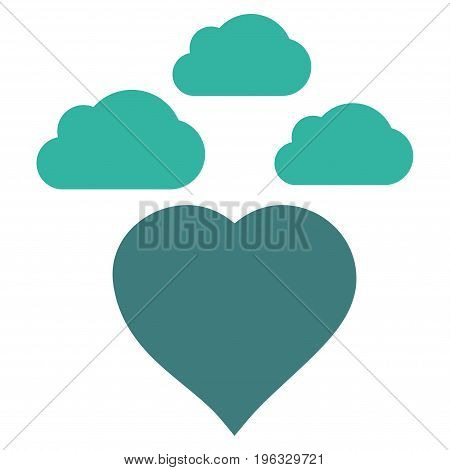 Cloudy Love Heart flat icon. Vector bicolor cobalt and cyan symbol. Pictograph is isolated on a white background. Trendy flat style illustration for web site design, logo, ads, apps, user interface.