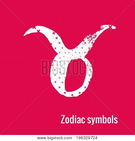 Signs of the zodiac. Taurus symbol calligraphy. Fashion illustration style. Vector illustration white isolated on a pink background. Concept for women's T-shirts, fashion magazines and blogs.