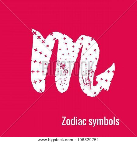 Signs of the zodiac. Scorpio symbol calligraphy. Fashion illustration style. Vector illustration white isolated on a pink background. Concept for women's T-shirts, fashion magazines and blogs.