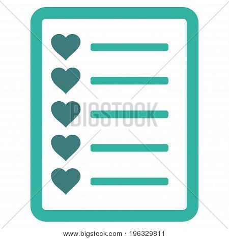 Favourites List Page flat icon. Vector bicolor cobalt and cyan symbol. Pictogram is isolated on a white background. Trendy flat style illustration for web site design, logo, ads, apps, user interface.