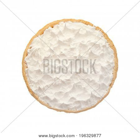 Delicious coconut cream pie on light background