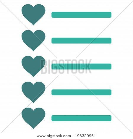 Favourites List flat icon. Vector bicolor cobalt and cyan symbol. Pictogram is isolated on a white background. Trendy flat style illustration for web site design, logo, ads, apps, user interface.