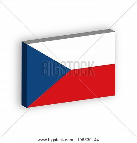 3D flag of Czech Republic. Vector illustration with dropped shadow isolated on white background.