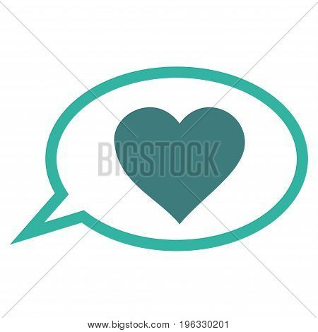 Love Message Balloon flat icon. Vector bicolor cobalt and cyan symbol. Pictogram is isolated on a white background. Trendy flat style illustration for web site design, logo, ads, apps, user interface.